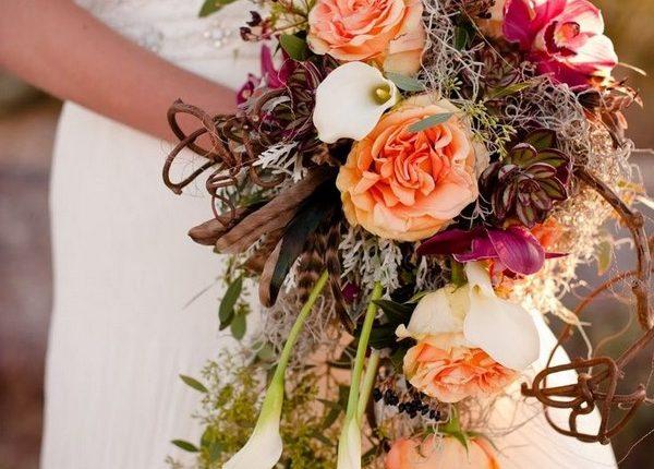 calla lily spanish moss fall wedding bouquet