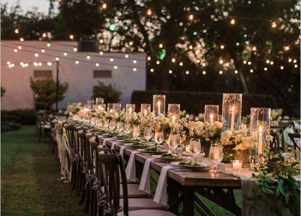 chic backyard wedding reception ideas with lights