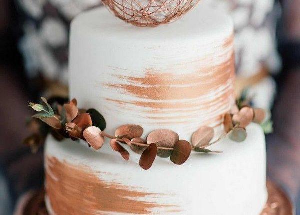 copper metallic wedding cake