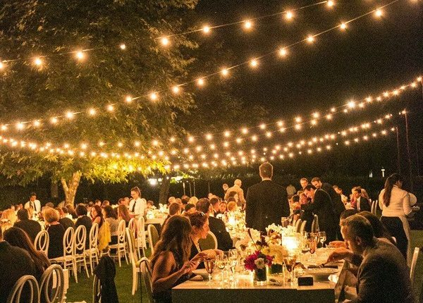 forest outdoor wedding reception ideas with lighting