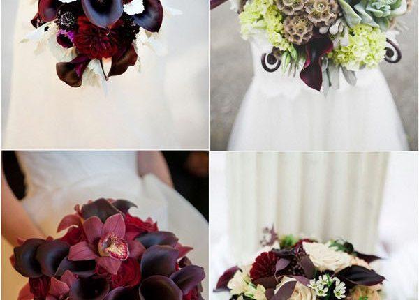 plum purple calla lily wedding bouquets