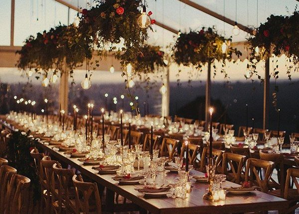 Romantic Tented Wedding Reception Ideas With Lights Roses Rings