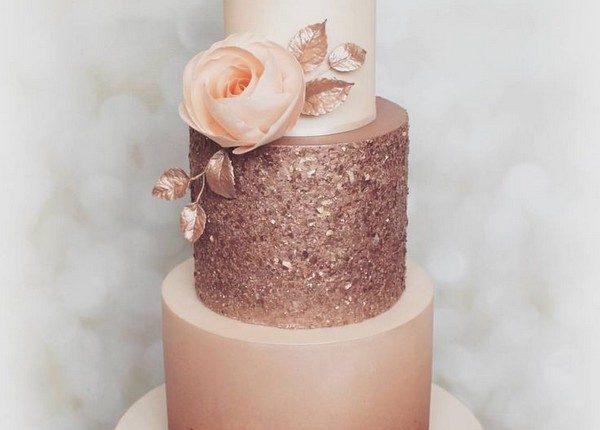 rose gold metallic wedding cake