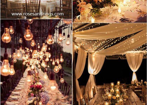 rustic country wedding reception lighting ideas