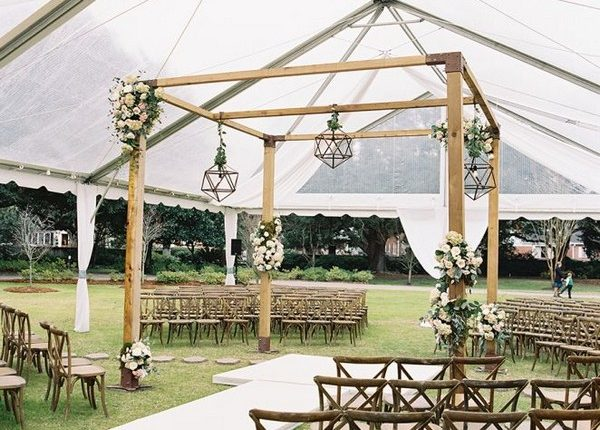 Rustic Tented Wedding Ceremony Decor Idea Roses Rings