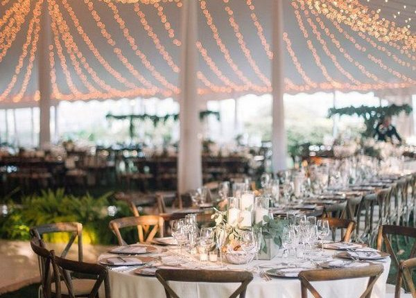 rustic tented wedding reception idea with lights
