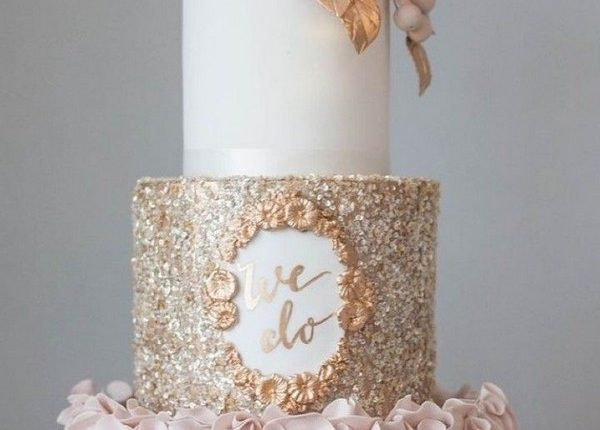 sugar flowers and the bottom 2 tiers gold wedding cake
