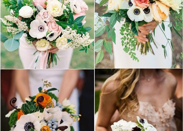 wedding flower trends – white and black anemone wedding flower bouquets