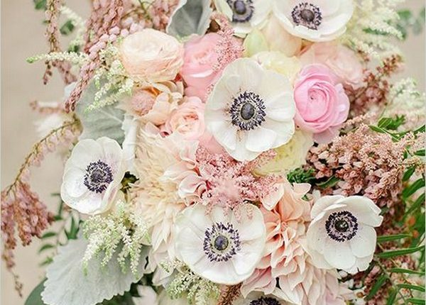 white anemone and pink roses wedding bouquet