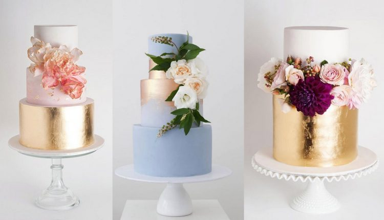 gold metallic wedding cake ideas
