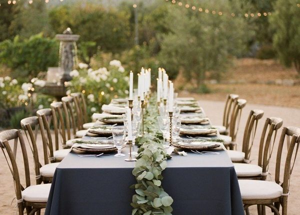 greenery seeded eucalyptus and navy wedding table cover