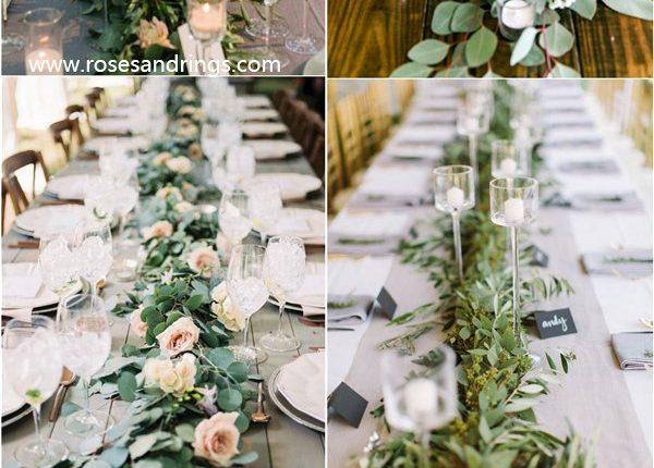 rustic greenery wedding garland table decoration ideas