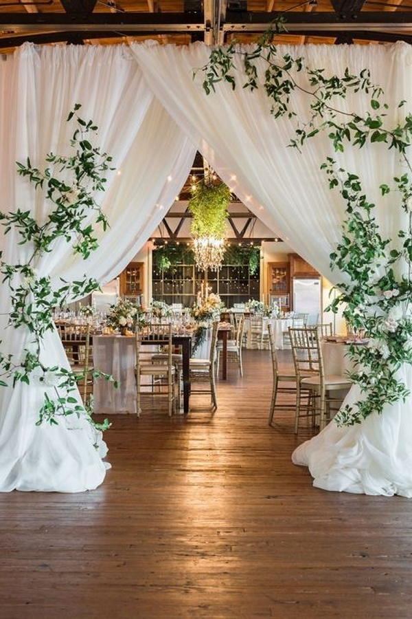 Barn Wedding Reception with a Draped Entrance