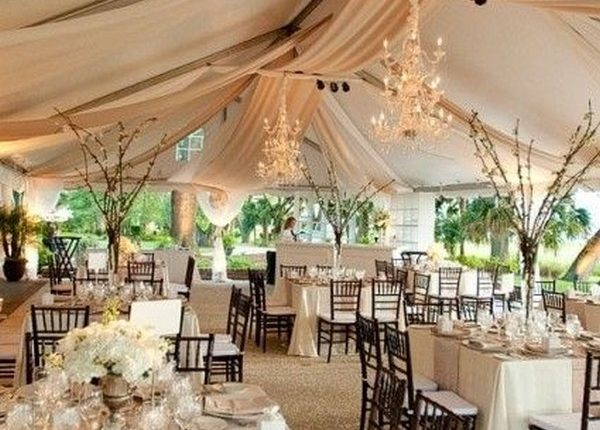 Draped fabric for outdoor tent wedding