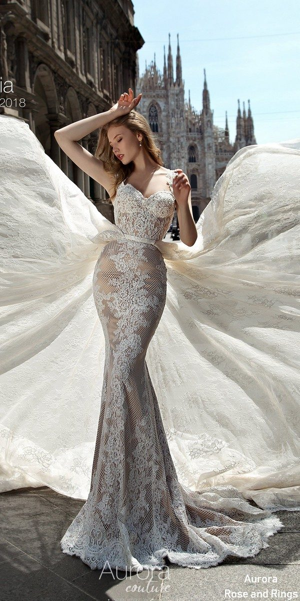 Open back fit and flare lace wedding dresses VITELIA