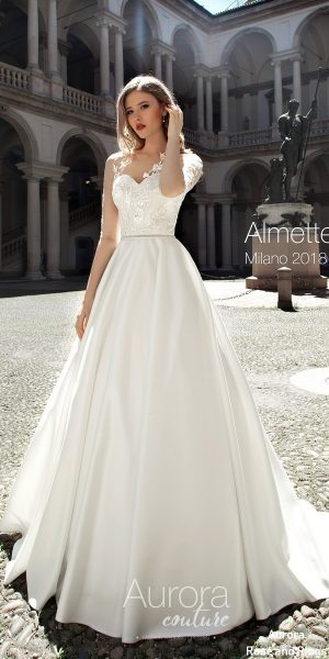 Princess aline sleeved open back wedding dresses ALMETTE