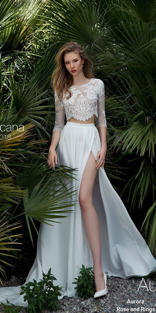 Simple boho two pieces lace wedding dress TROPICANA
