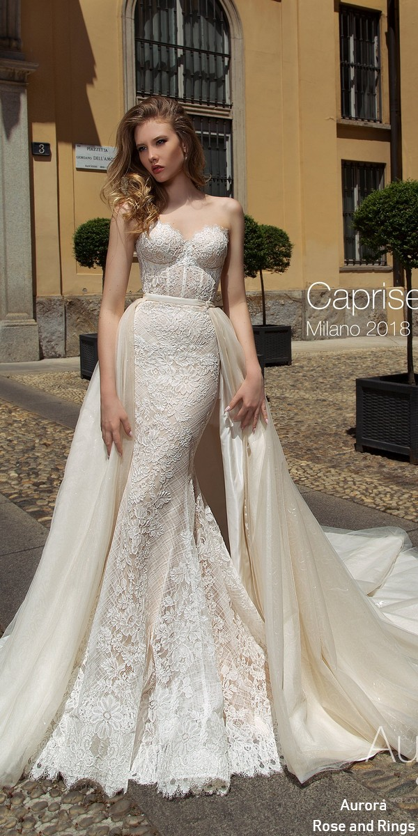 Strapless Sweetheart Boho Lace Wedding Dress Caprise Roses Rings