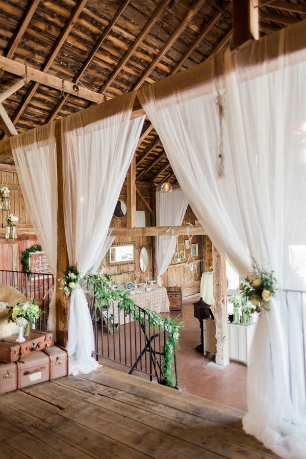 barn wedding decoration ideas with white draping