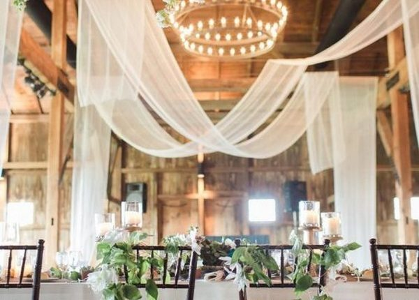 barn wedding reception ideas with draping