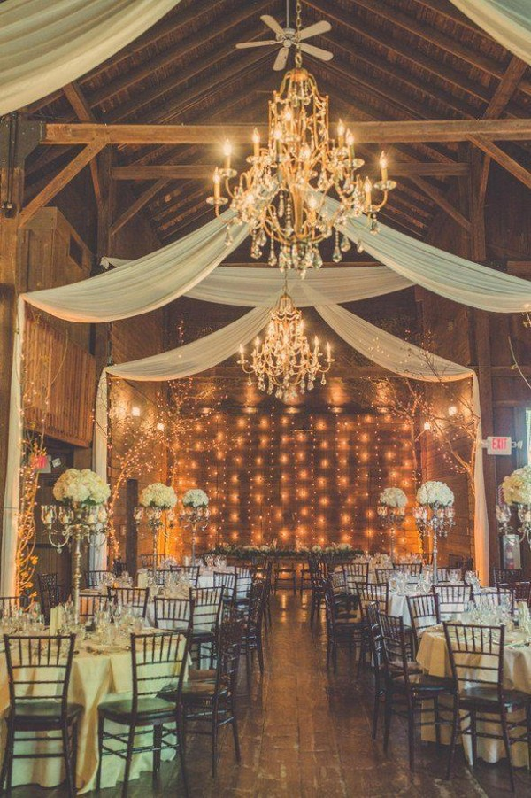 barn wedding reception ideas with draping fabric