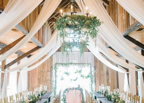 barn wedding reception ideas with ivory draping