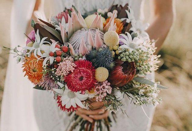 bohemian protea wedding bouquet
