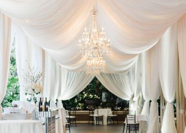 elegant ivory wedding tent decor