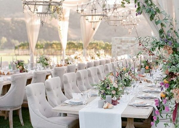 Ordinaire Elegant Outdoor Wedding Reception Ideas With Greenery And Fabric Draping
