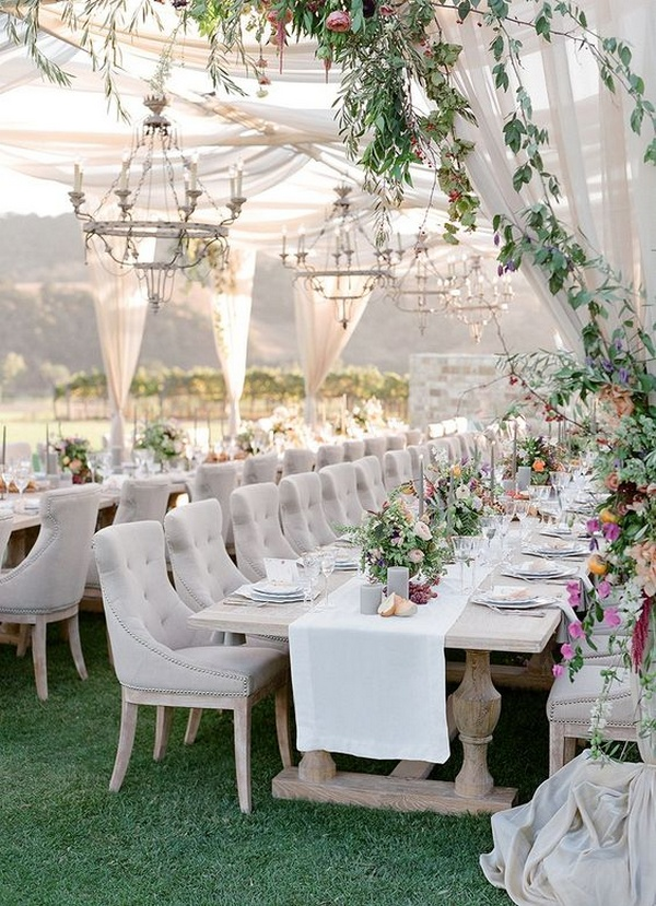 Elegant Outdoor Wedding Reception Ideas With Greenery And Fabric Draping