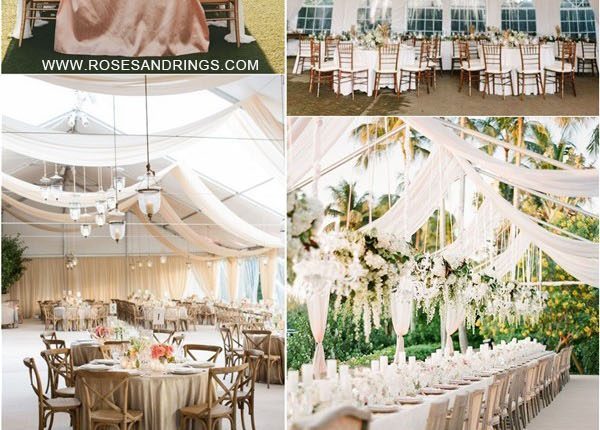outdoor backyard tented wedding ideas – tented wedding reception with draping fabric 2