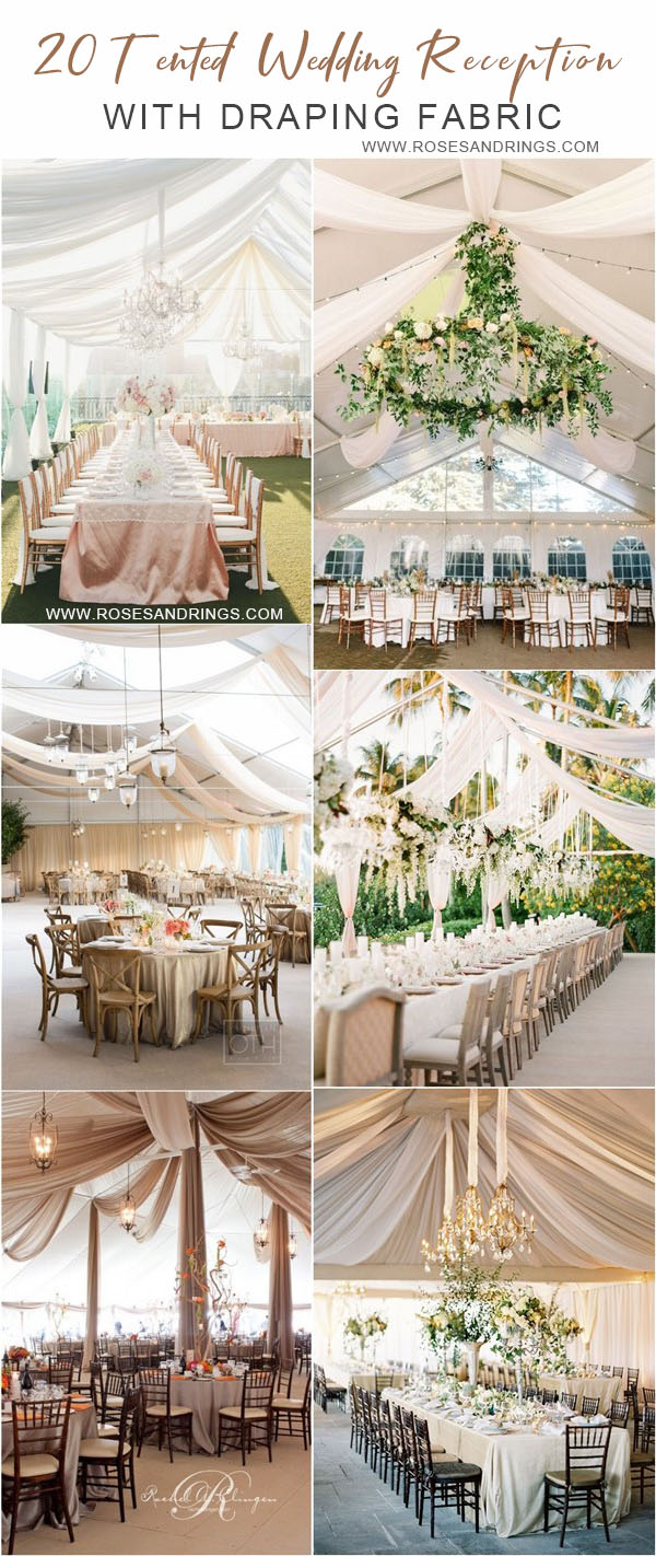 outdoor backyard tented wedding ideas - tented wedding reception with draping fabric
