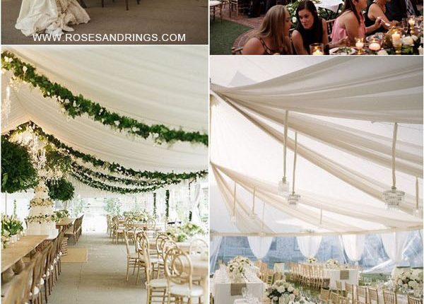 outdoor backyard tented wedding ideas – tented wedding reception with draping fabric 3
