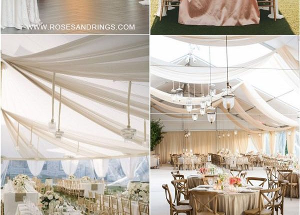 outdoor backyard tented wedding ideas – tented wedding reception with draping fabric 4