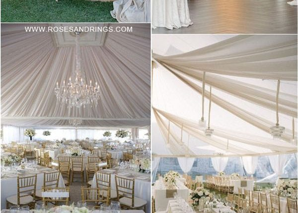 outdoor backyard tented wedding ideas – tented wedding reception with draping fabric