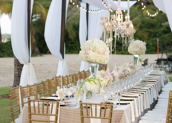 outdoor wedding reception ideas with ivory draping fabric