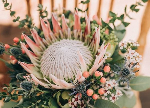 protea and Australia native wedding bouquet