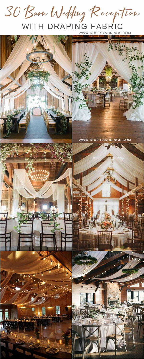 rustic country barn wedding ideas - barn wedding reception with draping fabric