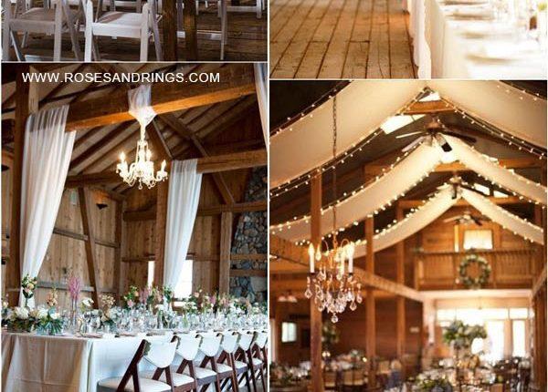 rustic country barn wedding ideas – barn wedding reception with draping fabric 4