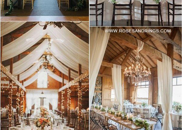 rustic country barn wedding ideas – barn wedding reception with draping fabric 6