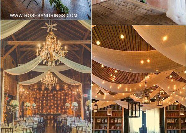 rustic country barn wedding ideas – barn wedding reception with draping fabric
