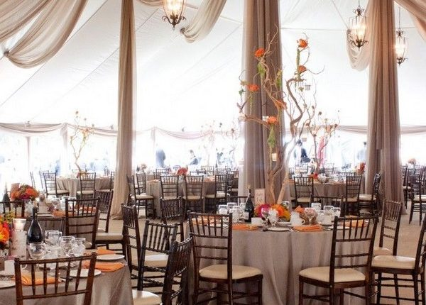 rustic fall tented wedding decor