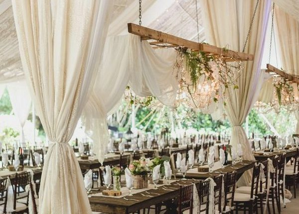 rustic wedding reception decorations with fabric draping