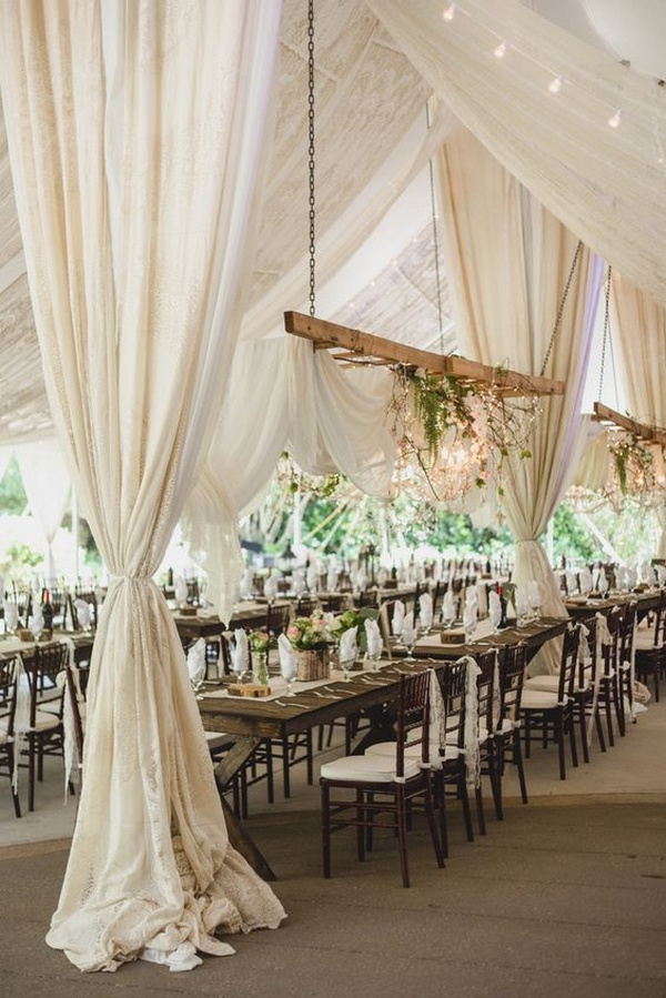 Rustic Wedding Reception Decorations With Fabric Draping Roses