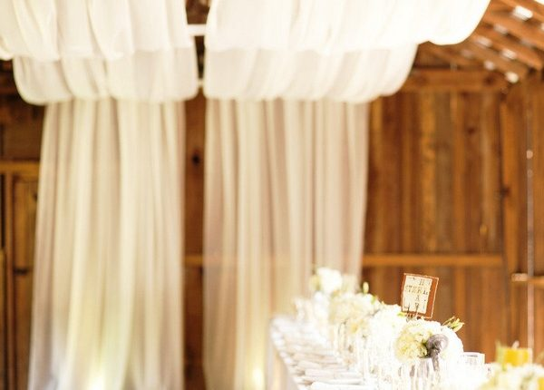 rustic wedding reception ideas with draped fabric