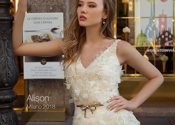 simple v neck wedding dress ALISON2