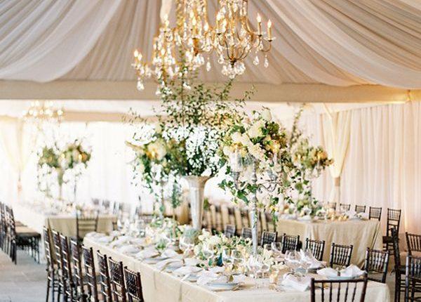 vintage gold tented wedding reception idea