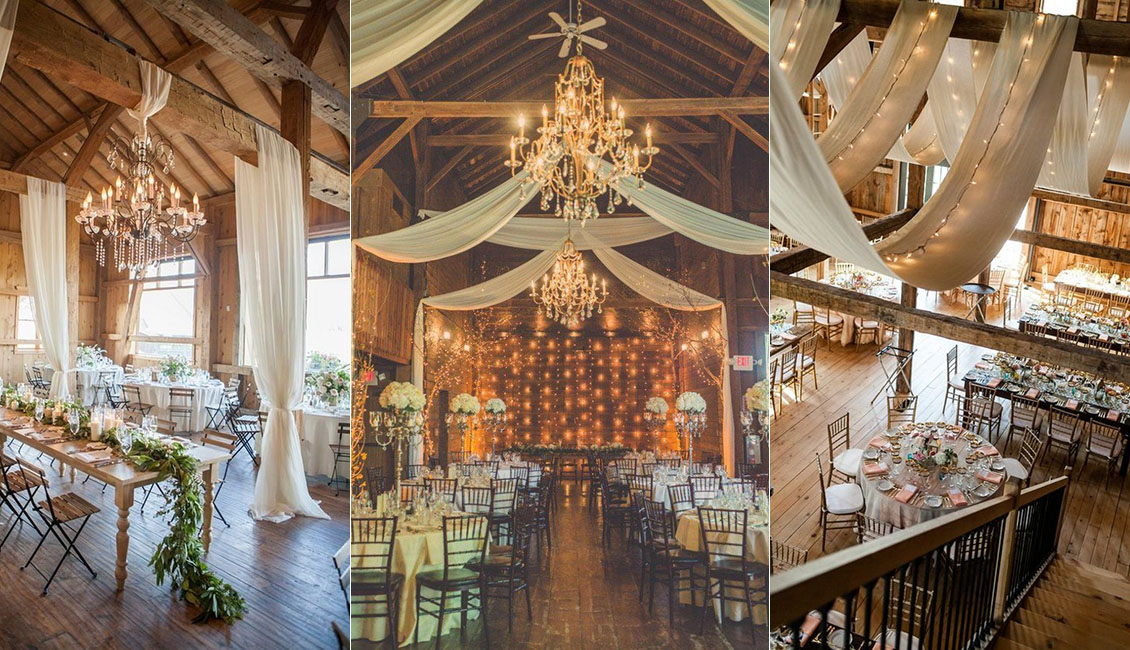 30 Rustic Barn Wedding Reception Space With Draped Fabric Decor Ideas Roses Rings Part 2