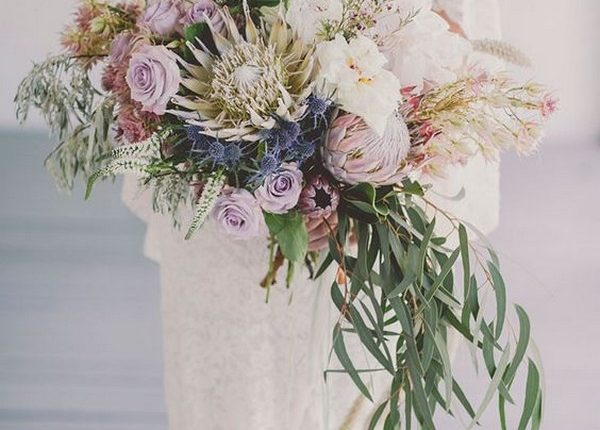 wedding bouquet with king proteas for spring summer