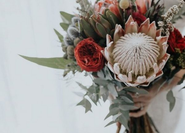 wedding bouquet with protea